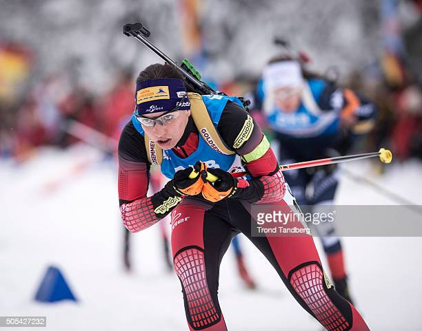 Susanne Hoffmann of Austria in action during the Women 4 x 5 km relay Biathlon race at the IBU Biathlon World Cup Ruhpolding on January 17 2016 in...