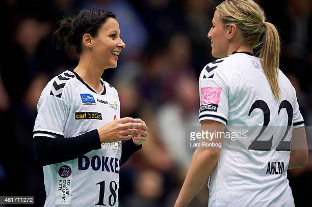 Susanne Kastrup Forslund of Team Esbjerg speaks to to team mate Johanna Marie Helene Ahlm prior to the Danish Boxer Dameligaen women's match between...