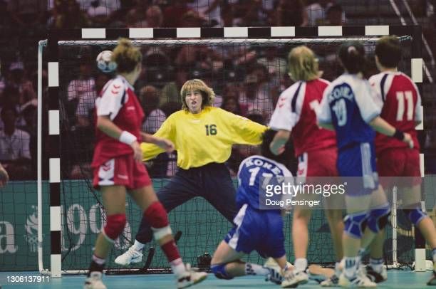 Susanne Lauritsen, Goalie for Denmark during the final of the Women's Olympic Handball Tournament against South Korea at the XXVI Summer Olympic...