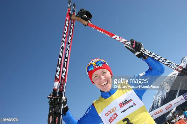 Susanne Nystroem of Sweden celebrates after winning the FIS Marathon Cup Engadin on March 14 2010 Scuol Switzerland