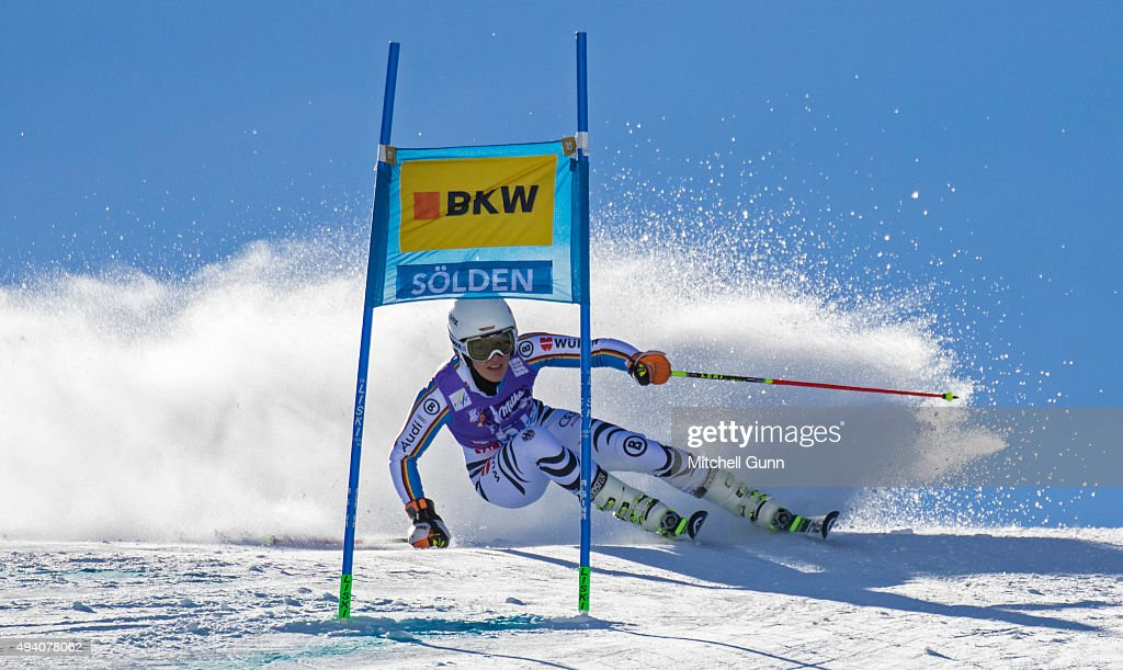 Susanne Weinbuchner of Germany during the Audi FIS Ski World Cup women's giant slalom race on the Rettenbach Glacier on October 24, 2015 in Soelden, Austria.