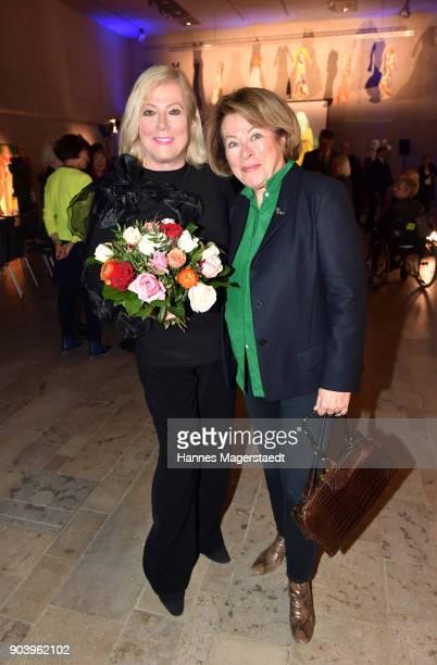 Susanne Wiebe and actress Rita Russek during 'Der andere Laufsteg' exhibition opening in Munich at Staatliches Museum Aegyptischer Kunst on January...