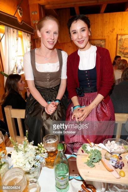 Susanne Wuest and Sibel Kekilli during the 'Fruehstueck bei Tiffany' at Schuetzenfesthalle at the Oktoberfest on September 16, 2017 in Munich,...