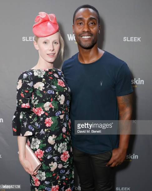 Susanne Wuest and Simon Webbe attend the WolfskinTechLab Collection Preview AW18 at The Groucho Club on June 6 2018 in London England
