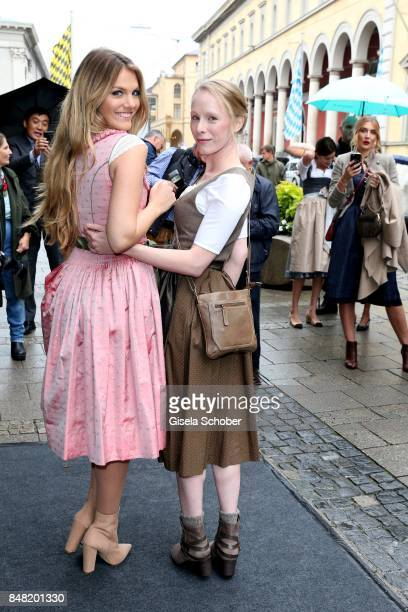 Susanne Wuest and Viviane Geppert during the 'Fruehstueck bei Tiffany' at Tiffany Store ahead of the Oktoberfest on September 16, 2017 in Munich,...