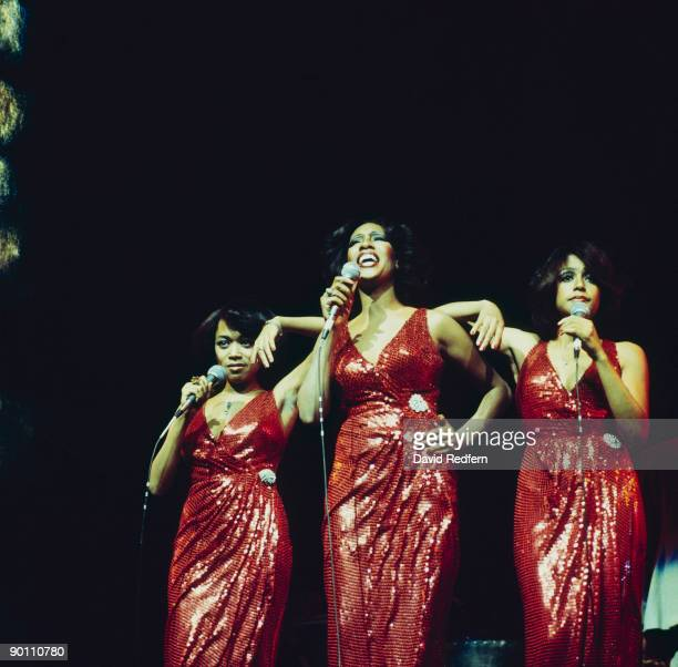 Susaye Greene Mary Wilson and Scherrie Payne of The Supremes perform on stage at the New Victoria Theatre in London England in April 1974