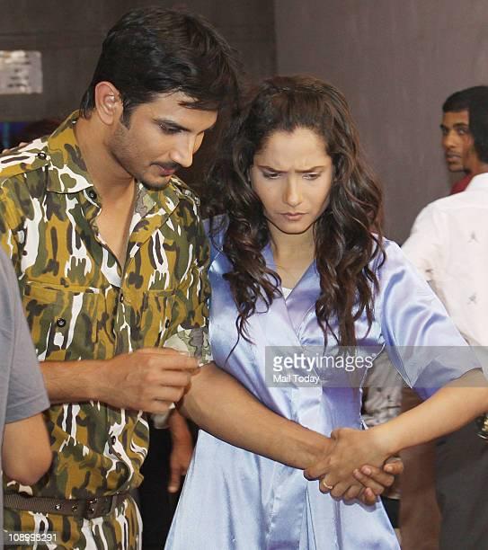 Sushant Rajput and Ankita Lokhande on sets of dance reality show Jhalak Dikhhla Jaa