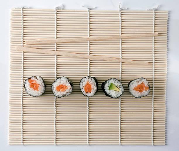 Sushi And Chopsticks On A Wooden Mat Wall Art