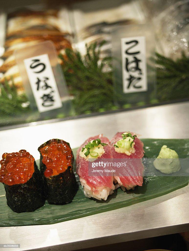 Sushi and Wasabi in a Sushi Bar, Tokyo, Japan : Stock Photo