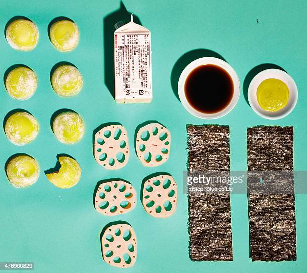 sushi arrangement - soy sauce stock photos and pictures