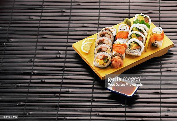 sushi assortment - pickled ginger stock pictures, royalty-free photos & images