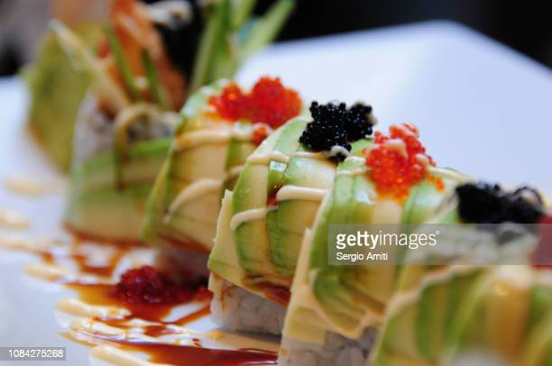 Sushi avocado dragon rolls
