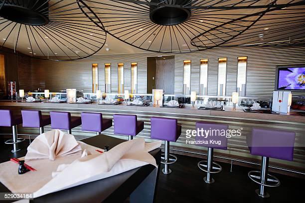 Sushi bar the AIDAprima Cruise Ship Baptism on May 7 2016 in Hamburg Germany
