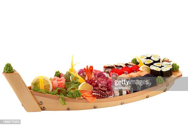 sushi boat - nigiri stock pictures, royalty-free photos & images