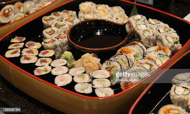 Sushi by NOBU at Gabrielle's Angel Foundation for Cancer Research benefit hosted by Total Management on December 8 2011 in London England