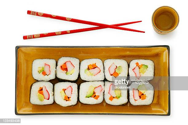 sushi chopsticks saki on white