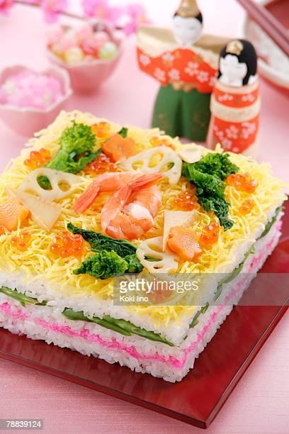 sushi for hinamatsuri festival - hinamatsuri stock pictures, royalty-free photos & images