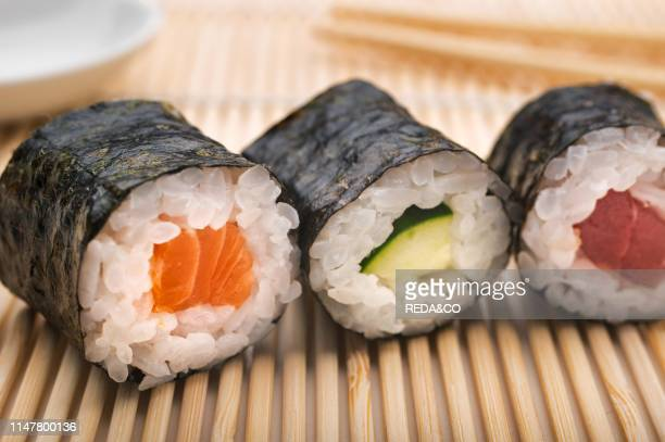 Sushi HosoMaki with salmon cucumber and tuna.