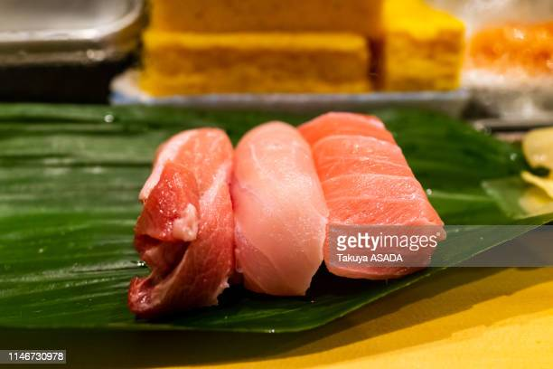 sushi in toyosu fishmarket - nigiri stock pictures, royalty-free photos & images