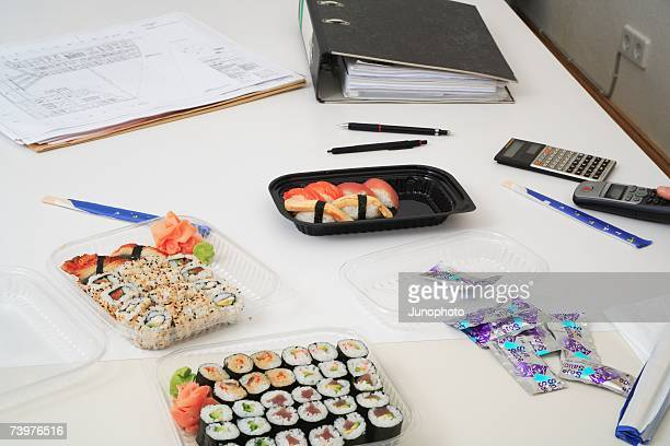 sushi lunch at work - pickled ginger stock pictures, royalty-free photos & images