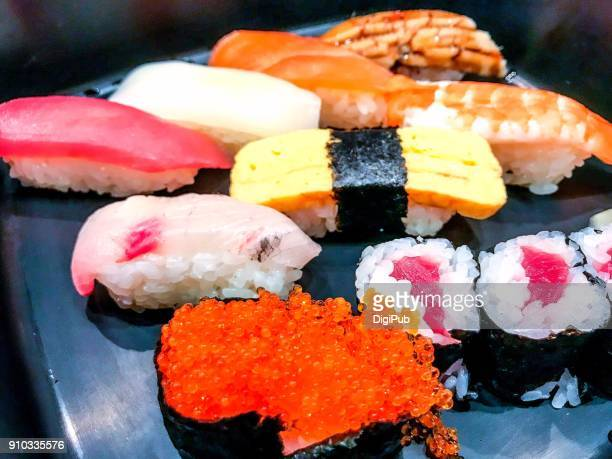 sushi lunch meal close up - vertebrate stockfoto's en -beelden