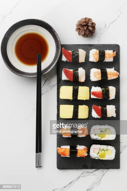 sushi - soy sauce stock photos and pictures