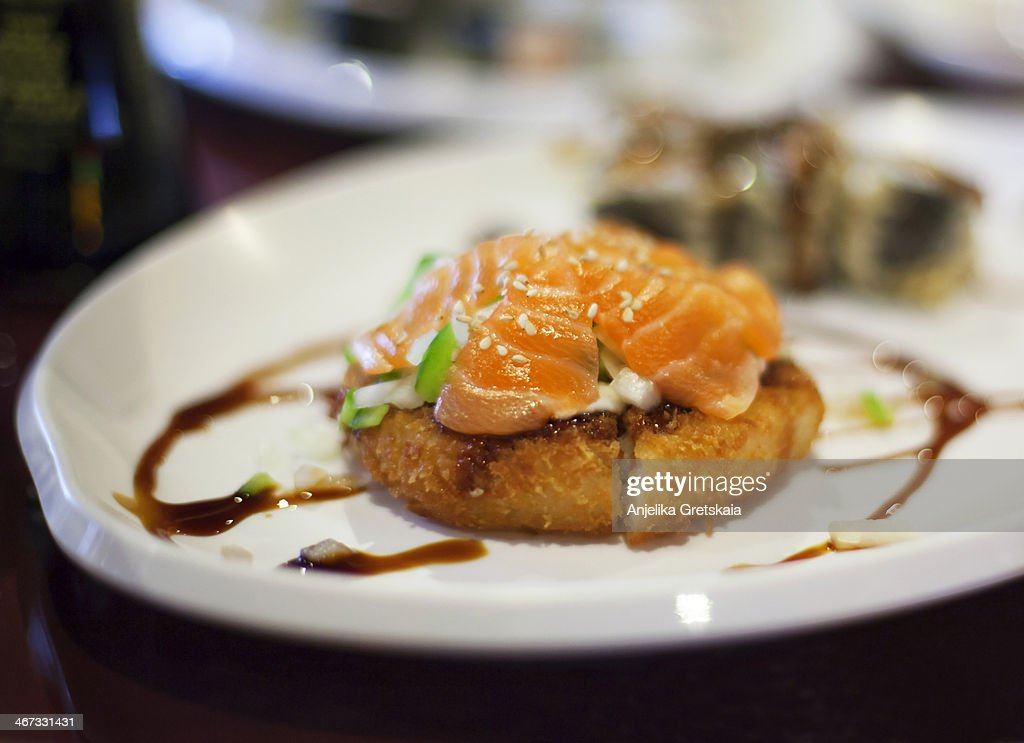Sushi pizza, small deep of focus : Stock Photo