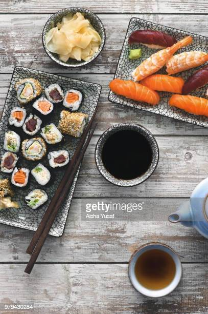 sushi plate from above - soy sauce stock pictures, royalty-free photos & images