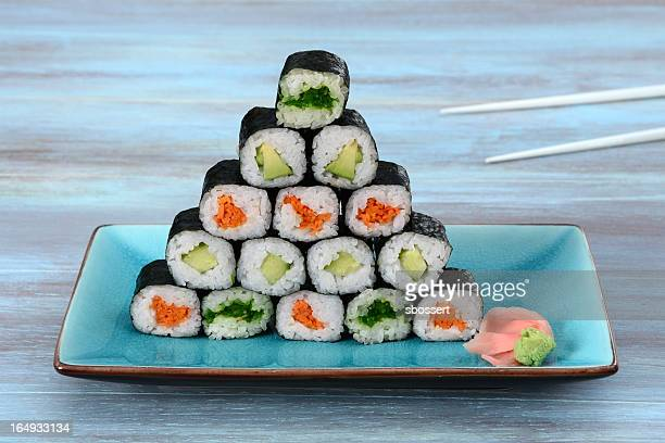 sushi pyramid - nori stock photos and pictures
