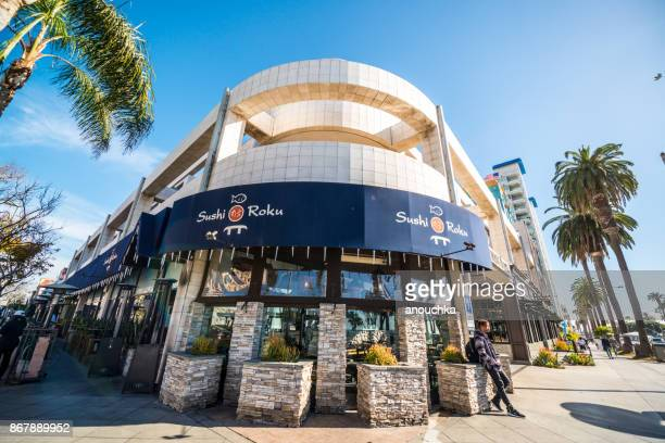 sushi roku on ocean avenue in santa monica, usa - sushi restaurant stock photos and pictures