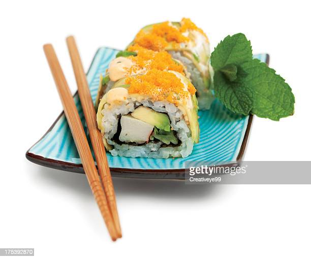 sushi roll plate - japanese food stock pictures, royalty-free photos & images