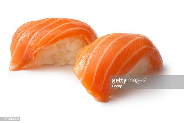 sushi: salmon sake - nigiri stock pictures, royalty-free photos & images