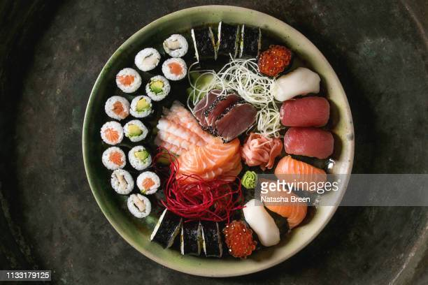 sushi sashimi set - japanese food stock pictures, royalty-free photos & images