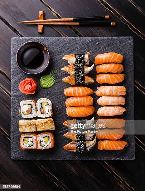 Sushi Set on black stone slate background