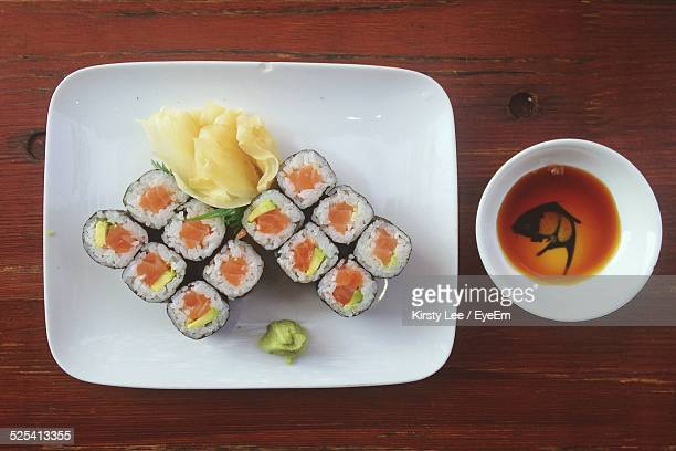 sushi set on table - maki sushi stock pictures, royalty-free photos & images