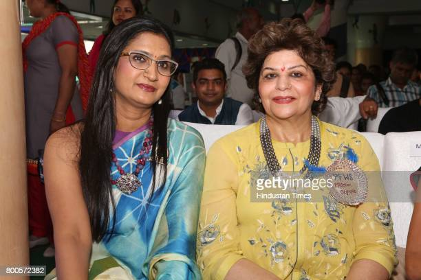 Sushi Singh and Indu Seth during the launch of Neele Pankh an initiative by Police Families Welfare Society to make sports a reality for children of...
