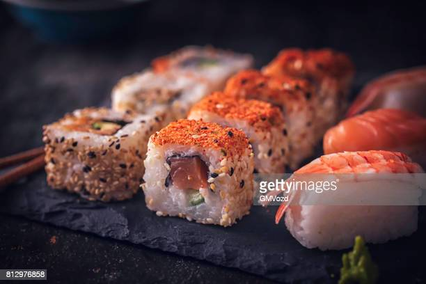 sushi variation - sushi stock pictures, royalty-free photos & images