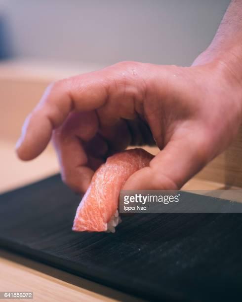 Sushi with fatty Bluefin tuna (Toro) in Tsukiji, Tokyo, Japan