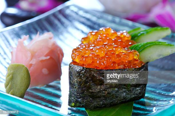 sushi with red caviar - wasabi stock pictures, royalty-free photos & images