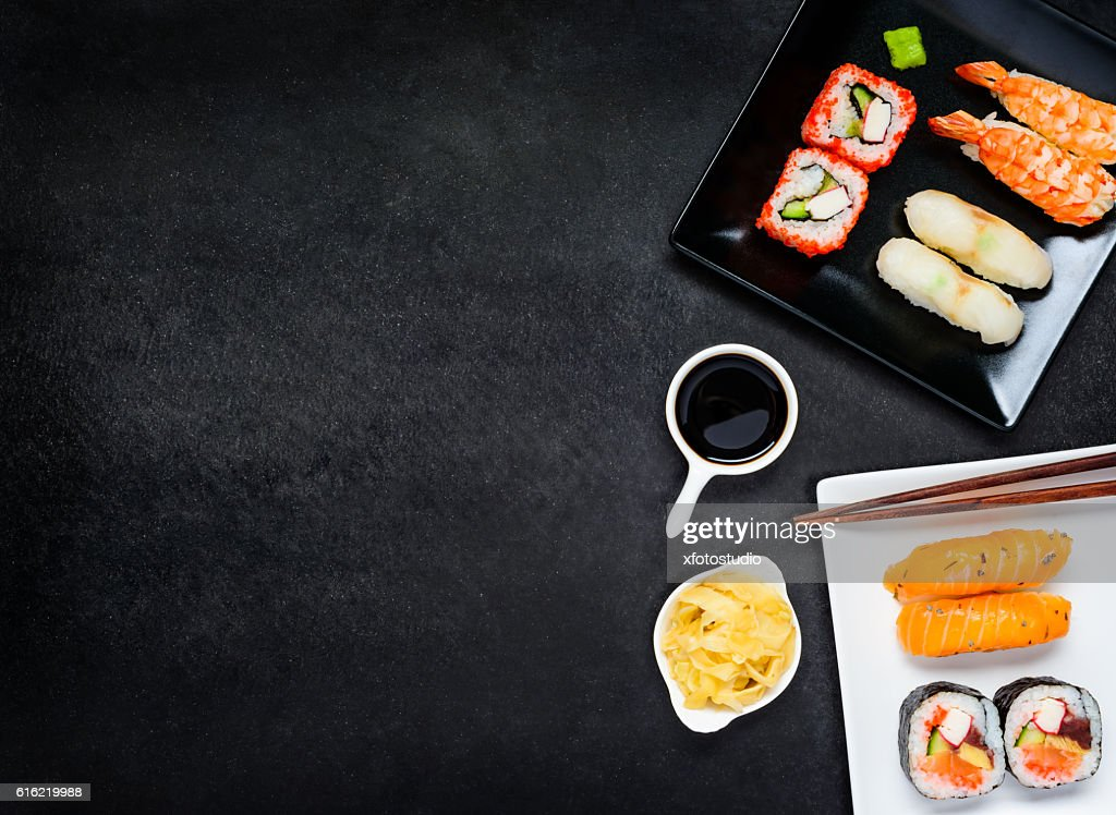 Sushi with Sashimi and Soy Sauce on Copy Space Area : Stockfoto