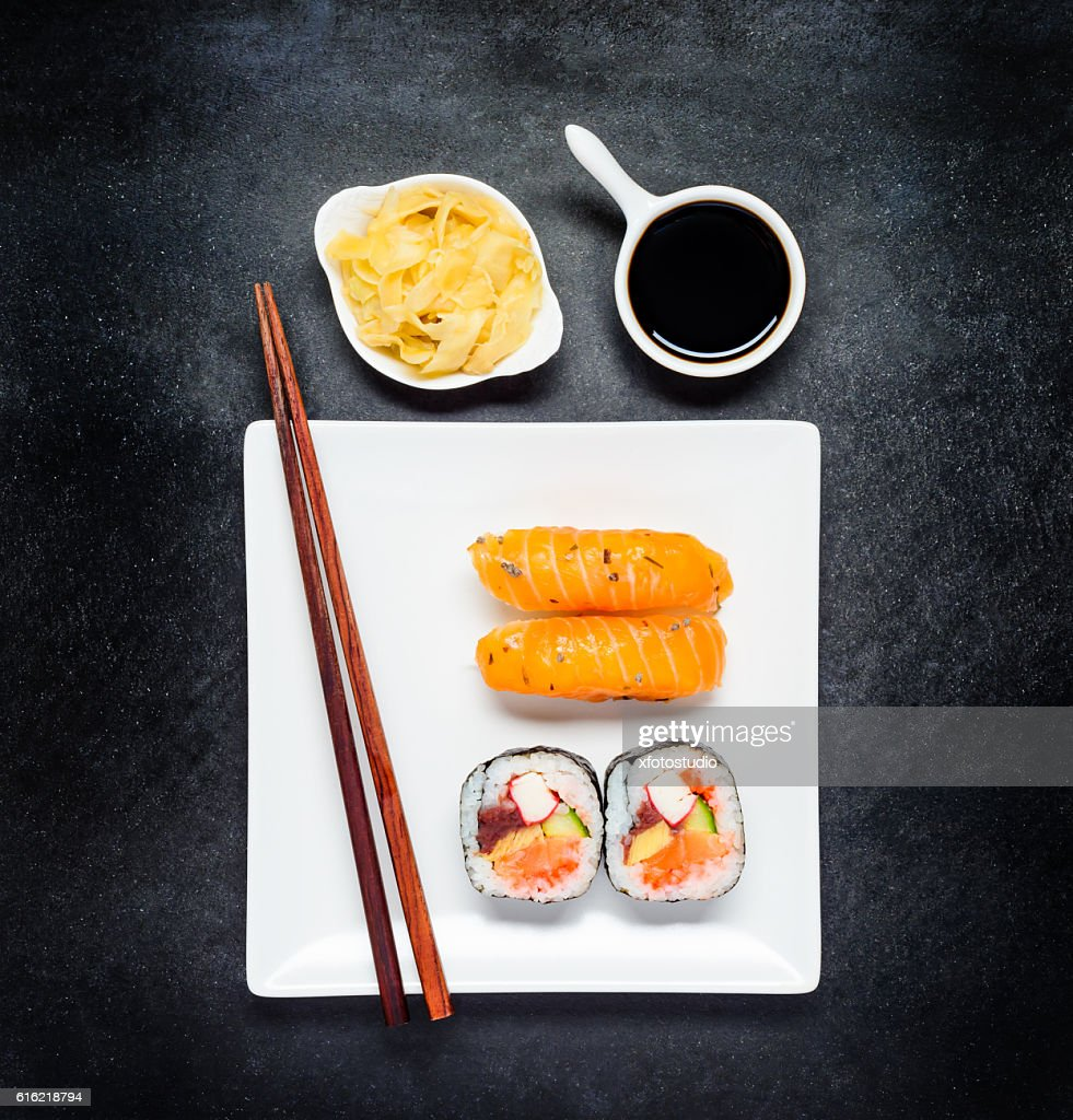 Sushi with Tsukemono and Soy Sauce on White Plate : Stock Photo