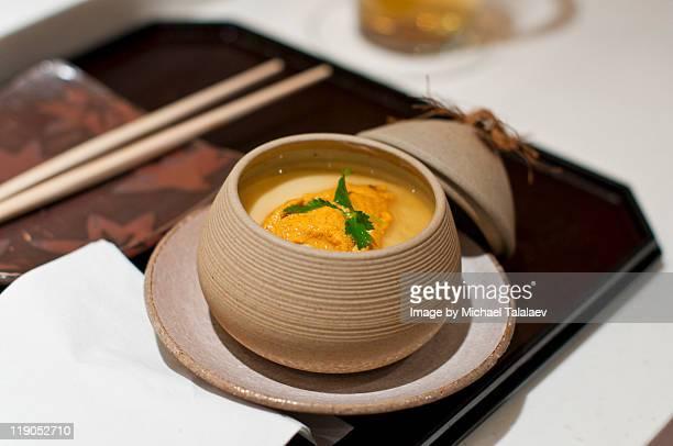 sushi zen and uni chawan-mushi - chawanmushi stock pictures, royalty-free photos & images