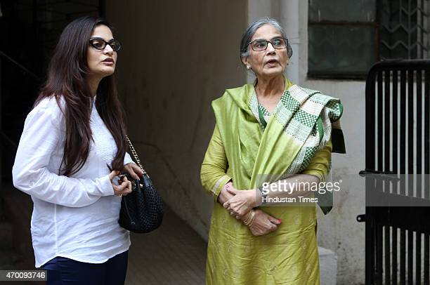 Sushila Charak Khan aka Salma Khan and Alvira Khan Agnihotri mother and sister of actor Salman Khan leaves the City Civil court after the hearing on...