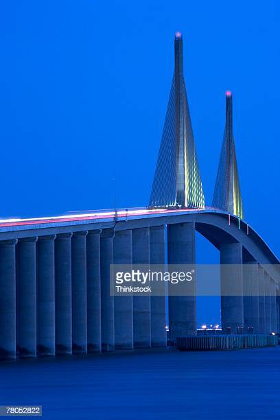 sushine skyway bridge near st. petersburg, florida - sunshine skyway bridge stock photos and pictures