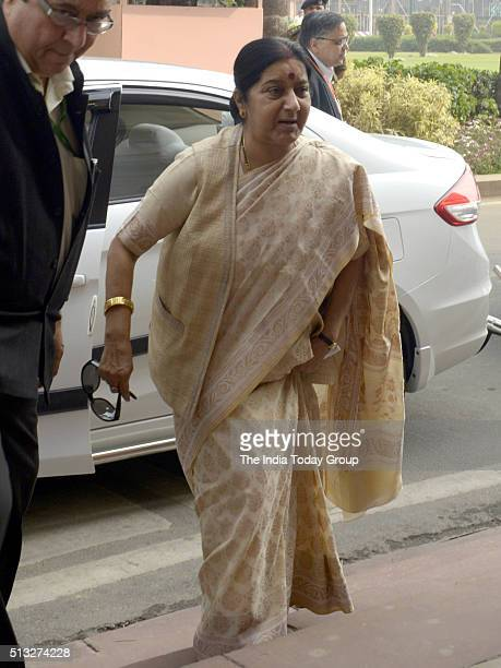 Sushma Swaraj during Budget Session of Parliament in New Delhi