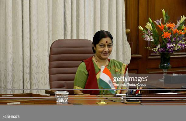 Sushma Swaraj External Affairs and Overseas Indian Affairs Minister takes charge in her office on May 28 2014 at South Block New Delhi India