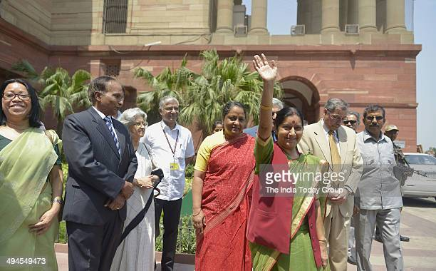 Sushma Swaraj External Affairs and Overseas Indian Affairs Minister takes charge at South Block on May 28 2014 in New Delhi India