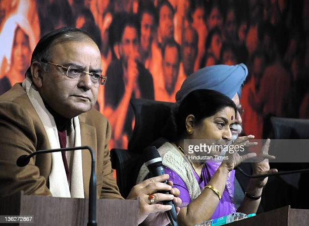 Sushma Swaraj leader of opposition in Lok Sabha and Arun Jaitley leader of opposition in Rajya Sabha attend a Press Confrence at BJP Headquarter on...