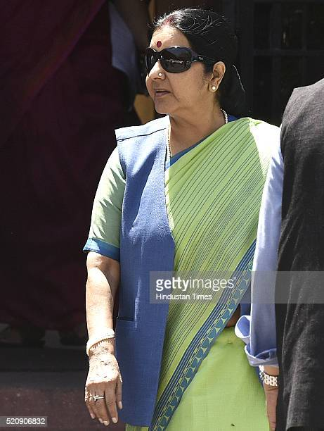 Sushma Swaraj Union Minister of External Affairs coming out after attending the Cabinet Meeting at PM Office South Block on April 13 2016 in New...