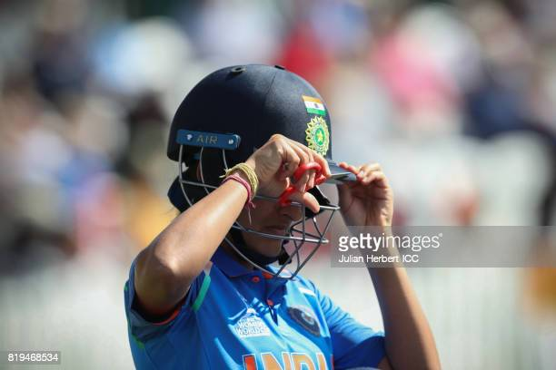 Sushma Verma of India works on her helmet during The Womens World Cup 2017 SemiFinal between Australia and India at The County Ground on July 20 2017...